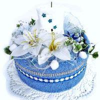 VERATEX Veratex Textilní dort svícen modro/ bílý 2x ručník