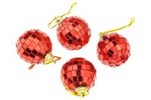 Vánoční kouličky (4cm), disco koule, červené - Set 4ks - 8718158437136