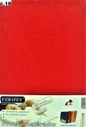 VERATEX Froté prostěradlo  90x210 cm (č.18-červená)
