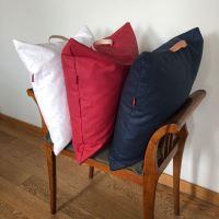Aesthetic Lněný povlak na sedací polštář s koženým uchem - Khaki Rozměr: 50x50 cm