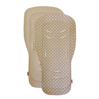 Aesthetic Podložka DO KOČÁRKU oboustranná - Puntík bílý na béžové plátno/ béžová bavlna