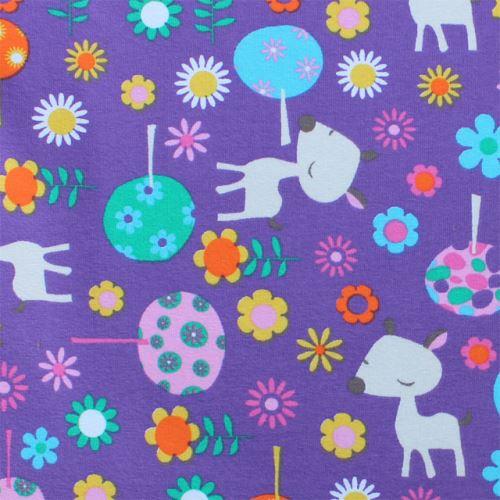 Aesthetic Prostěradlo do kočárku, košíku - bavlněný úplet s motivem - 32x75cm - mix motivů a barev TYP: Srnečka fialový podklad
