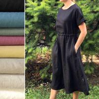 Aesthetic Lněné dámské šaty ARTLINE - 100% len, gramáž 245g/m2 - mix barev Barva: Olive Green