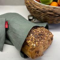 Aesthetic Lněný vak na chleba / sáček na pečivo s koženým poutkem - khaki Rozměr: 45x55 cm