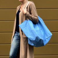 Aesthetic Taška lněná XXL s koženými uchy - French Blue