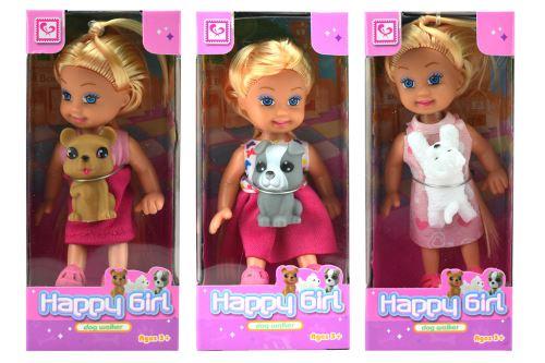 Mini panenka s pejskem Happy Girl (11cm) - Mix barev, 1ks - 5907773996880
