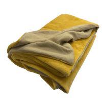 Aesthetic Deka/ přehoz oboustranný 100% len /mikroplyš - žlutá curry -150x200cm