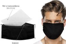 VERATEX Ústní rouška s vloženým nanovlákenným filtrem (15x22cm) černá