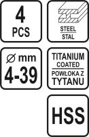 Sthor Sada stupňovitých vrtáků 4ks 4-39 mm TO-22617