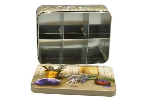 Plechový box na čaje s šesti přihrádkami a motivem levandule - BANQUET - 8591022348574