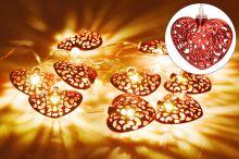 Svítící srdíčka na baterie DECORATIVE 10LED (165x5cm) - Červené, teplá bílá - 8718158706652