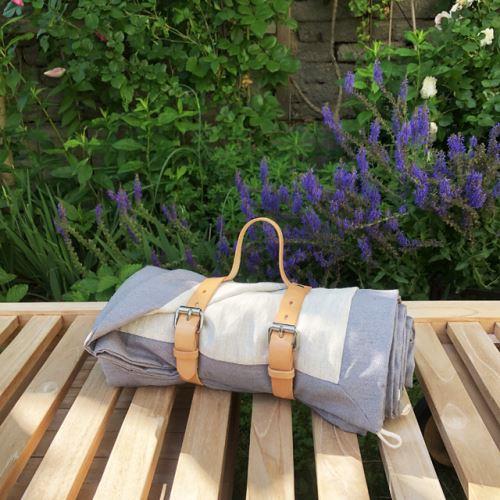 Aesthetic Exkluzivní pikniková deka lněná STONE - šedá střední /len přírodní 140x200 cm Typ varianty: S popruhem z kůže