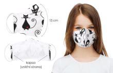 VERATEX Rouška dětská bavlněná s vnitřní kapsou kočičky (délka oblouku 13cm)