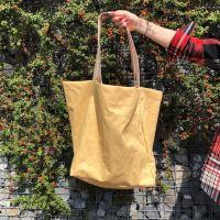 Aesthetic Taška lněná XXL s koženými uchy - Mustard Yellow
