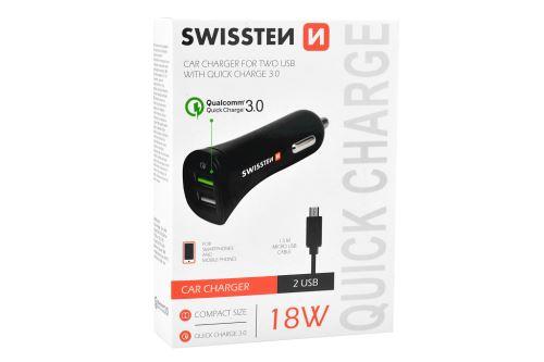 Nabíječka mobilů do auta SWISSTEN 2USB, Micro-USB - 18W - 8595217453562