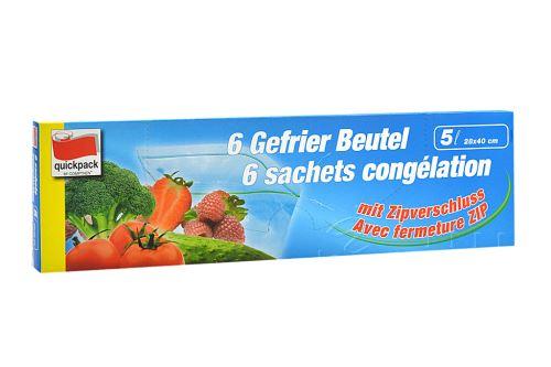 Zipové sáčky na potraviny 5l (28x40cm) 6ks - 4008284450005