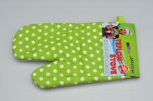 Teflonová kuchyňská rukavice s magnetem - Zelená s puntíky (25cm) - 8585025506239