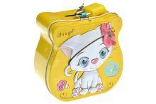 Plechová pokladnička, kočička (9cm) - Žlutá - 5900949406688