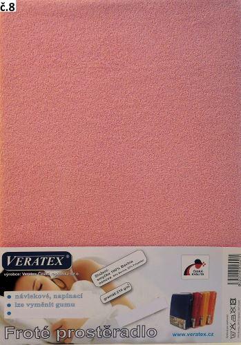 VERATEX Froté prostěradlo 140x200/16 cm (č. 8-růžová)