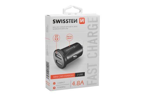 Mini nabíječka mobilů do auta v kovovém provedení SWISSTEN 4.8A - Černá - 8595217455092