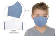 VERATEX Rouška dětská bavlněná s vnitřní kapsou modrá (délka oblouku 13cm)