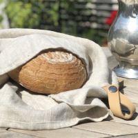 Aesthetic Lněný vak na pečivo s koženým poutkem - přírodní Rozměr: 27x45 cm
