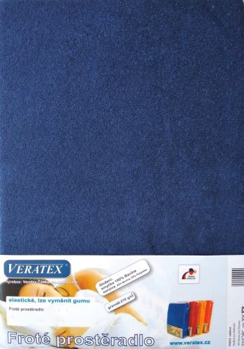 VERATEX Froté prostěradlo 140x200/16 cm (č.24-nám.modrá)