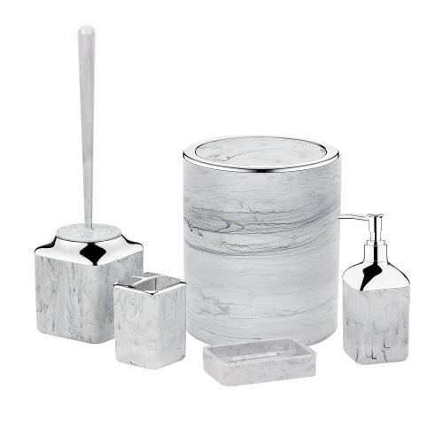 Herzberg HG-OKY5141: 5dílná koupelnová sada světlý mramor