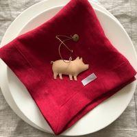 Aesthetic Lněný jídelní ubrousek - 100% len červená vánoční