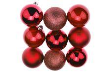 Vánoční koule na stromeček FLORA (6cm) 9ks - Červené - 8585044123684