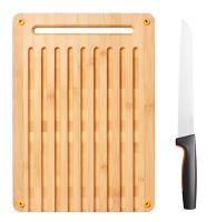 Fiskars Bambusové prkénko pro krájení chleba a nůž na krájení chleba (1057551)