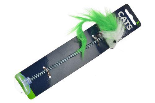 Hračka pro kočky - Myš na pérku s přísavkou (19cm) - Zelená - 8719202905700