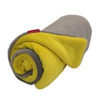 Aesthetic Mikroplyšová deka/ přehoz - šedá střední - žlutá curry Rozměr: 100 x 140 cm