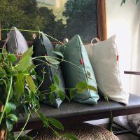 Aesthetic Lněný povlak na sedací polštář s koženým uchem - Mint Green Rozměr: 50x50 cm
