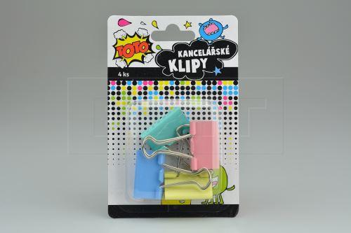 Kancelářské klipy TOTO (3x5cm) 4ks - Mix barev - 8590331335183
