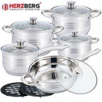 Herzberg HG-1242: 12-dílná sada nádobí z nerezové oceli