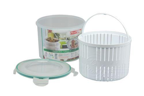 Kulatý plastový box s cedníkem a silikonovým těsněním PLAST ART 2,5l (14x18,5cm) - 8696219381690