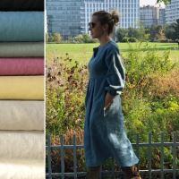 Aesthetic Lněné dámské šaty JOHANNA - 100% len, gramáž 245g/m2 - mix barev Barva: Olive Green