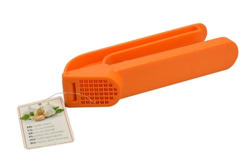 Plastový lis na česnek - Oranžový (17cm) - 8591022232866