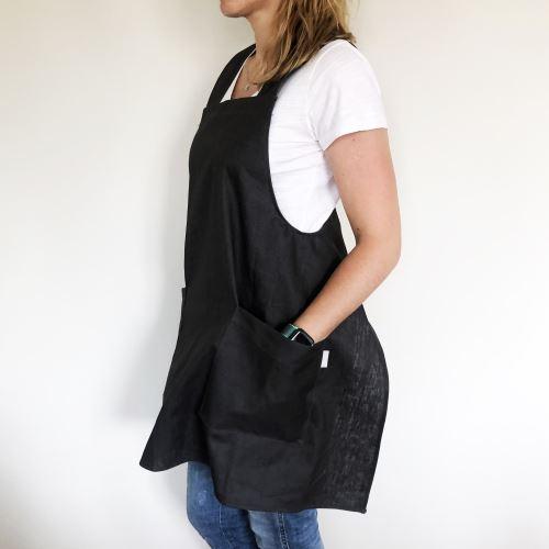 Aesthetic Zástěra lněná šatová s kapsami - odolná- Black Velikost: Dospělá