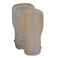 Aesthetic Podložka DO KOČÁRKU oboustranná s bambusovou výplní - Puntík bílý na béžové plátno/ šedá melange bavlna