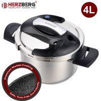 Herzberg HG-PS4M: 4L tlakový hrnec z nerezové oceli s mramorovým povlakem
