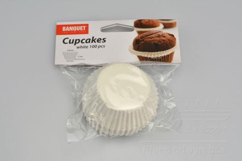 Cukrářské košíčky Cupcakes BANQUET 100ks - Bílé (6x2,2x4,5cm) - 8591022264300