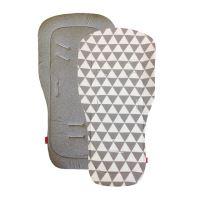 Aesthetic Podložka do kočárku oboustranná - Triangel plátno /šedá melange bavlna