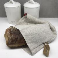 Aesthetic Lněný vak na chleba / sáček na pečivo s koženým poutkem -100% len, gramáž 245g/m2 - Oatmeal Rozměr: 45x55 cm
