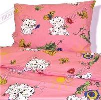 VERATEX Dětské bavlněné povlečení LUX 45x64 90x130 růžový dalmatin