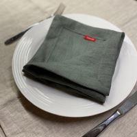Aesthetic Lněný jídelní ubrousek - mix barev - 100% len, gramáž 245g/m2 Barva: Olive Green