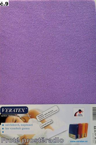 VERATEX Froté prostěradlo postýlka 70x140 cm (č. 9-tm.fialová)