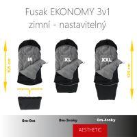 Aesthetic Fusak EKONOMY 3v1 nastavitelný - Klasik - černá - smetanová