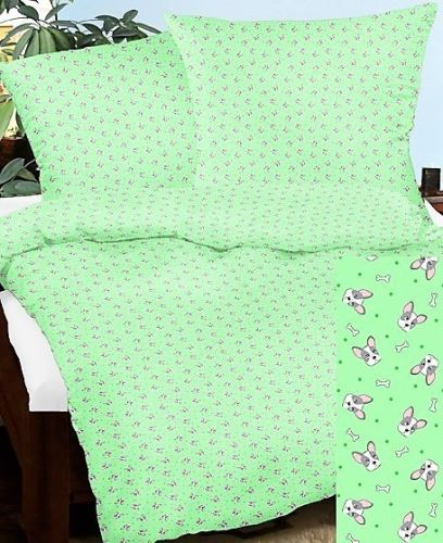 VERATEX Bavlněný povlak na polštář 50x70 cm sv.zelený pejsek